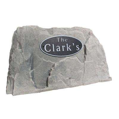 39 in. L x 21 in. W x 21 in. H Plastic Rock Cover with Oval Sign in Gray