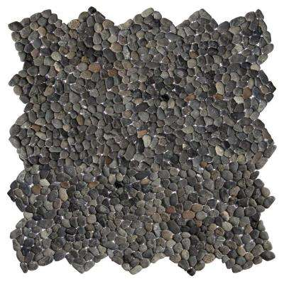 Micro Pebble Barbados Black 12 in. x 12 in. x 6.35 mm Mesh-Mounted Mosaic Floor and Wall Tile (10 sq. ft. / case)