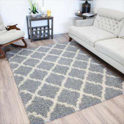 Ultimate Shaggy Contemporary Moroccan Trellis Design Grey 8 ft. x 10 ft. Area Rug