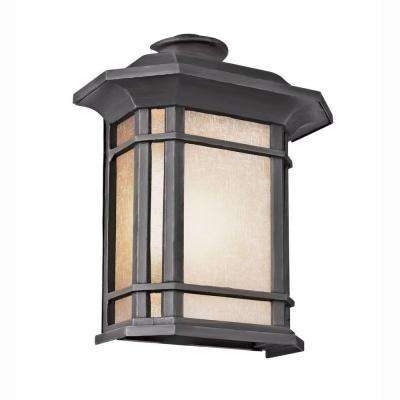 Energy Saving 1-Light Outdoor Black Patio Wall Lantern with Tea Stained Linen Shade