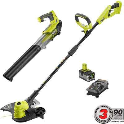 ONE+ 18-Volt Lithium-Ion Cordless String Trimmer and Jet Fan Blower Combo Kit