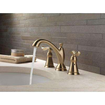 Linden 8 in. Widespread 2-Handle Bathroom Faucet with Metal Drain Assembly in Champagne Bronze