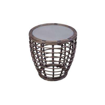 Cane Crossing 20 in. All-Weather Wicker Patio Drum Table