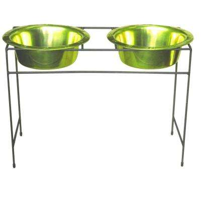 Platinum Pets 10 Cup Modern Double Diner Feeder with Dog Bowls, Corona Lime