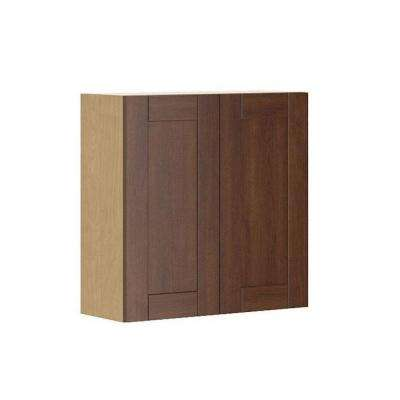 Ready to Assemble 30x30x12.5 in. Lyon Wall Cabinet in Maple Melamine and Door in Medium Brown