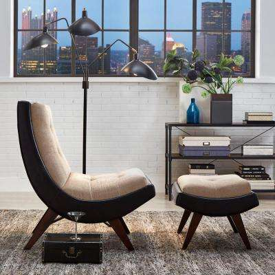 Peat Velvet Tufted Chair with Ottoman