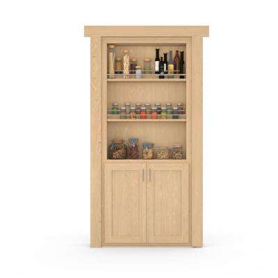 36 in. x 80 in. Flush Mount Assembled Forward Pantry Door Maple Natural Stained Right-Hand Outswing