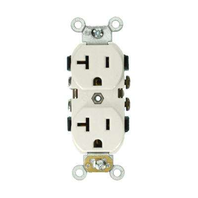 20 Amp Industrial Grade Heavy Duty Self Grounding Duplex Receptacle, White