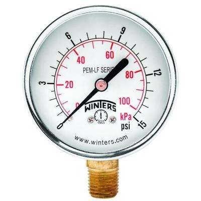 PEM-LF Series 2.5 in. Lead-Free Brass Pressure Gauge with 1/4 in. NPT LM and 0-15 psi/kPa