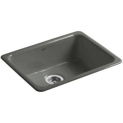 Iron/Tones Top Mount/Undermount Cast-Iron 24 in. Single Bowl Kitchen Sink in Thunder Grey