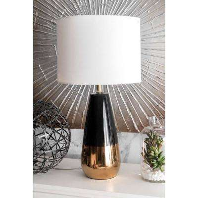 Moonflower Ceramic Two-Tone 25 in. Gold Table Lamp