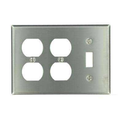 3-Gang Standard Size 1-Toggle 2-Duplex Receptacles Combination Wallplate, Stainless Steel