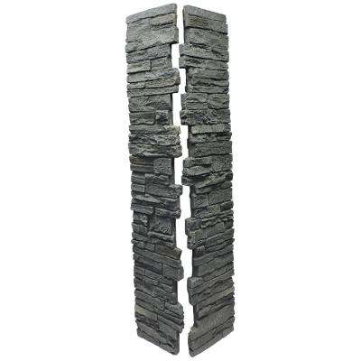 Slatestone Rundle Ridge 8 in. x 8 in. x 41 in. Faux Polyurethane Stone Deck Post Cover (2-Piece)