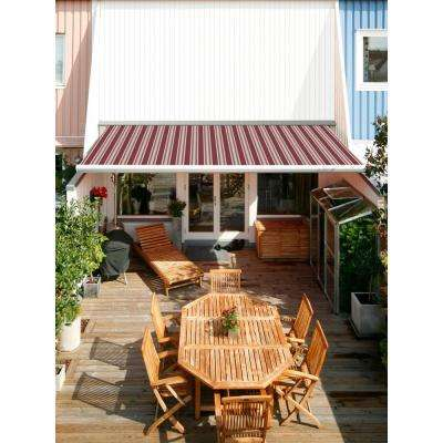 12 ft. Luxury L Series Semi-Cassette Electric Remote Retractable Patio Awning (118 in. Projection) in Red/Beige Stripes