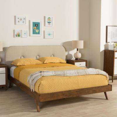 Penelope Mid-Century Beige Fabric Upholstered Full Size Bed