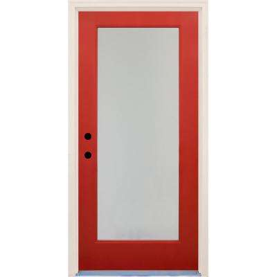 36 in. x 80 in. Elite Engine Satin Etch Glass Contemporary Full Lite Painted Fiberglass Prehung Front Door