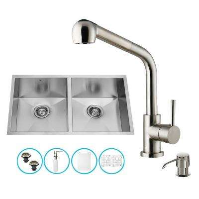 All-in-One Undermount Stainless Steel 32 in. 0-Hole Double Bowl Kitchen Sink in Stainless Steel