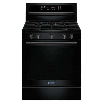 30 in. 5.8 cu. ft. Gas Range with True Convection in Black