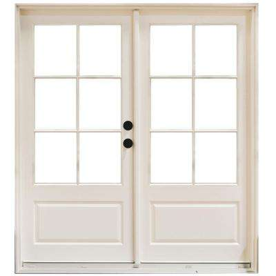 59-1/4 in. x 79-1/2 in. Fiberglass White Left-Hand Inswing Hinged 3/4-Lite Patio Door with 6-Lite External Grilles