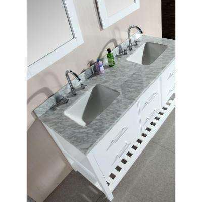 London 61 in. W x 22 in. D Double Vanity in White with Marble Vanity Top and Mirror in Carrara White