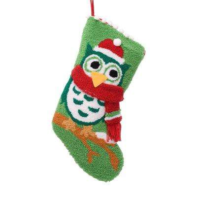 19 in. Polyester/Acrylic Hooked Christmas Stocking with Owl