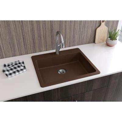 Quartz Classic Perfect Drain Drop-In Composite 25 in. Single Bowl ADA Compliant Kitchen Sink in Mocha