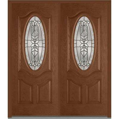 74 in. x 81.75 in. Cadence Decorative Glass 3/4 Oval Finished Fiberglass Oak Exterior Double Door