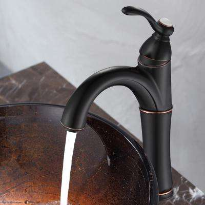 Riviera Single Hole Single-Handle Vessel Bathroom Faucet with Matching Pop Up Drain in Oil Rubbed Bronze