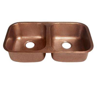 Undermount Handcrafted Solid Copper 32 in. Double Bowl Kitchen Sink in Antique Copper