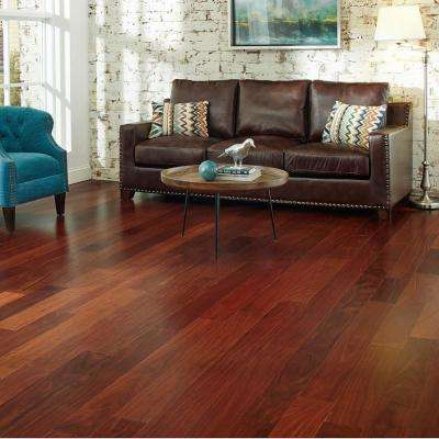 Santos Mahogany 3/8 in. T x 5 in. W x Varying Length Click Lock Exotic Hardwood Flooring (26.25 sq. ft. / case)