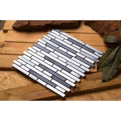 Ariya/01, Interlocking, 3 in. x 12 in. x 8 mm Metal Mesh-Mounted Mosaic Tile Sample