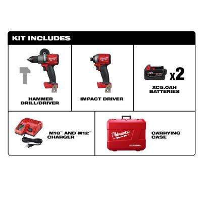 M18 FUEL 18-Volt Lithium-Ion Brushless Cordless Hammer Drill and Impact Driver Combo Kit (2-Tool) with Two 5Ah Batteries