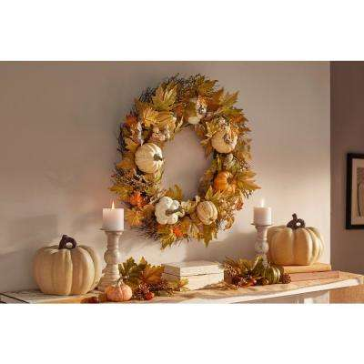 30 in. Harvest Pumpkin and Maple Leaf Wreath