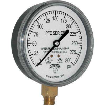 PFE Series 3.5 in. Black Plastic Case Sprinkler Gauge for Water Media with 1/4 in. NPT LM and Range of 0-300 psi
