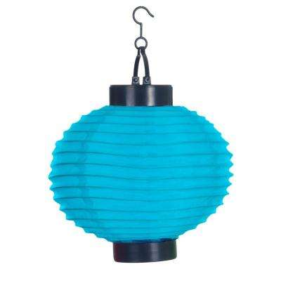 4-Light Blue Outdoor LED Solar Chinese Lantern