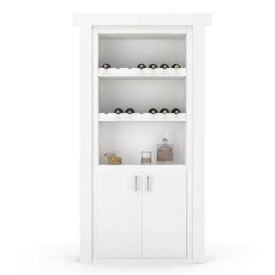 30 in. x 80 in. Flush Mount Assembled Paint Grade White Right-Hand Outswing Wine Rack Door