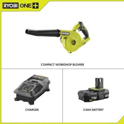 18-Volt ONE+ Cordless Compact Workshop Blower with 2.0 Ah Battery and Charger Kit