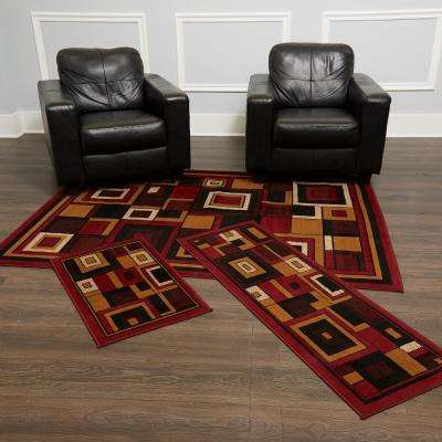 Ariana Red 5 ft. x 7 ft. 3-Piece Rug Set
