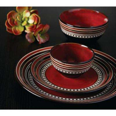 Cafe Versailles 16-Piece Casual Red Stoneware Dinnerware Set (Service for 4)