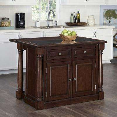 48 in. W Wood Kitchen Island in Cherry with Granite Top