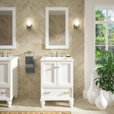Damask 24 in. Vanity Cabinet Only in Linen White
