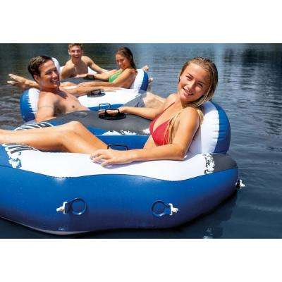 River Run Blue Round Vinyl Connect Lounge Inflatable Floating Water Pool Tube (4-Pack)