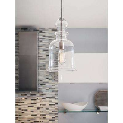 Staunton Collection 9 in. 1-Light Brushed Nickel Pendant with Clear Glass