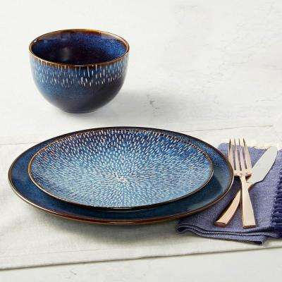 Matisse 16-Piece Contemporary Cobalt Earthenware Dinnerware Set (Service for 4)
