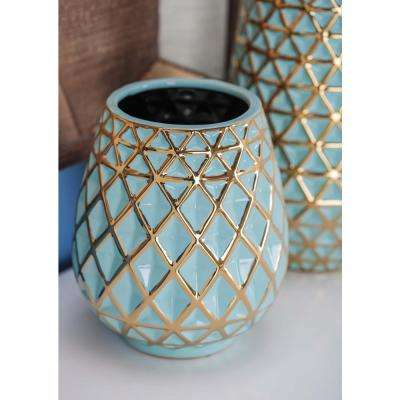8 in. Tulip-Shaped Blue and Gold Ceramic Decorative Vase