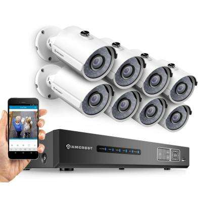 720P Tribrid HDCVI 8-Channel 2TB DVR Security Camera System with 8 x 1MP Bullet Cameras, White