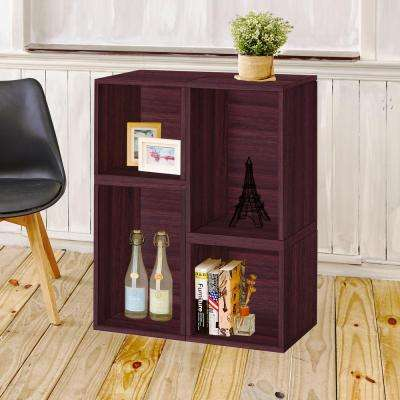 Blox System Verona Stackable 4-Cubby Modular Bookcase and Storage Shelf in Espresso Wood Grain