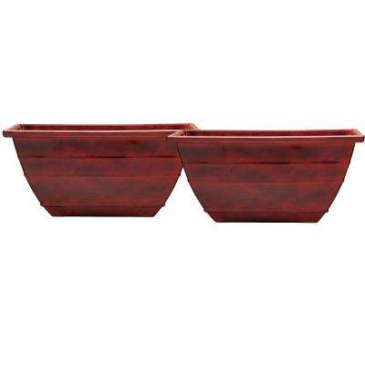 19 in. Resin Acid Stained Square Planter (Pack of 2)