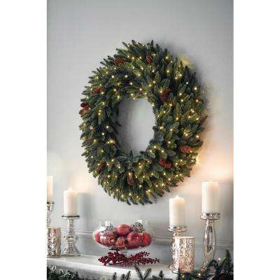 32 in. Pre-Lit LED Artificial Refined Elegance Spruce Wreath with 735 Tips, 200 Warm White Micro-Dot Lights, Pine Cones