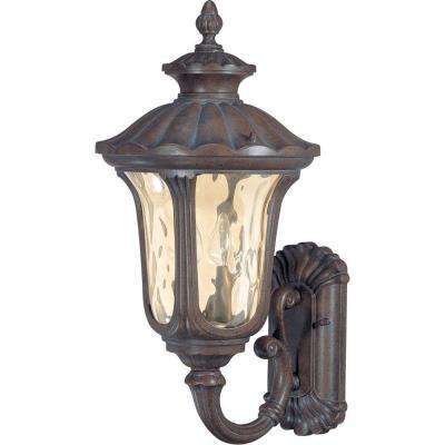 2-Light Outdoor Fruitwood Mid-Size Wall Lantern with Arm Up and Amber Water Glass